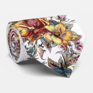 Realistic drawn Floral bouquet pattern Tie