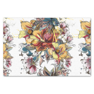 Realistic drawn Floral bouquet pattern Tissue Paper