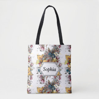 Realistic drawn Floral bouquet pattern Tote Bag