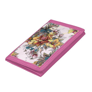 Realistic drawn Floral bouquet pattern Tri-fold Wallet