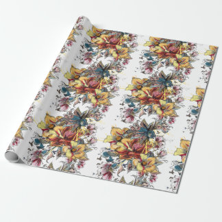 Realistic drawn Floral bouquet pattern Wrapping Paper