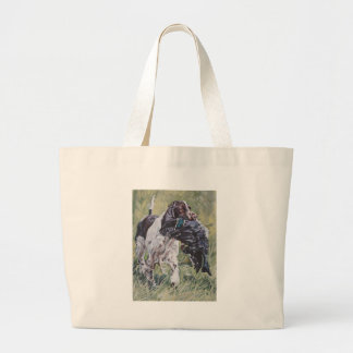 realistic English Springer Dog Fine Art Painting Large Tote Bag
