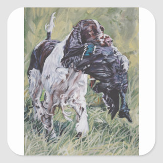 realistic English Springer Dog Fine Art Painting Square Sticker