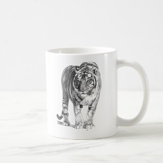Realistic Hand Drawn Bengal Tiger with Shading Coffee Mug