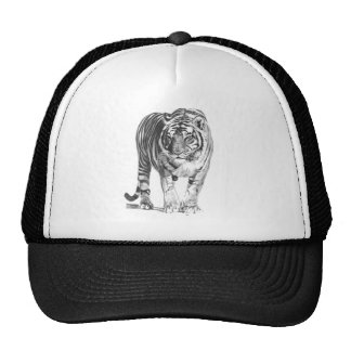 Realistic Hand Drawn Bengal Tiger with Shading Hats