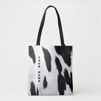 Realistic Holstein Cowhide Look Tote Bag