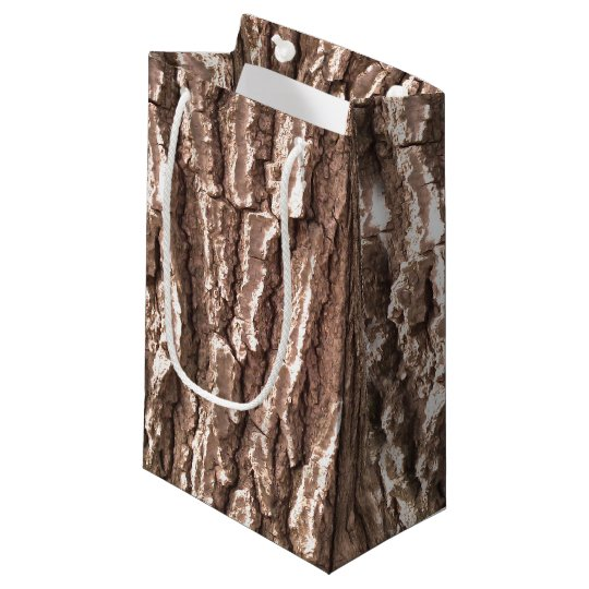 Realistic Photo Tree Bark Nature Pattern Small Gift Bag
