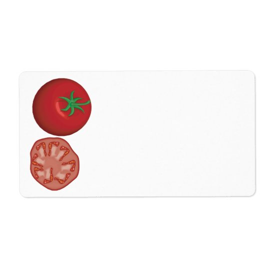 realistic red tomato shipping label