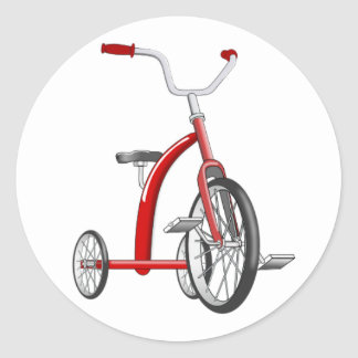 Realistic Red Tricycle Classic Round Sticker