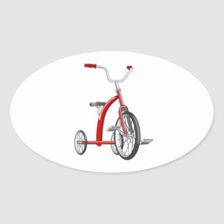 Realistic Red Tricycle Oval Sticker