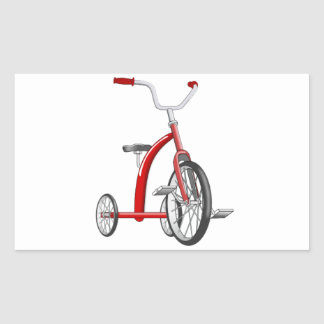 Realistic Red Tricycle Rectangle Sticker
