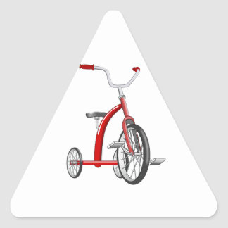 Realistic Red Tricycle Triangle Sticker