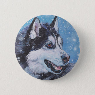realistic Siberian Husky Dog Fine Art Painting 2 Inch Round Button
