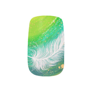 Realistic white feather with green swirl painting minx nail art