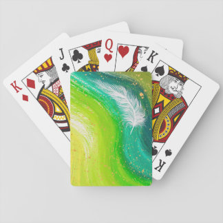 Realistic white feather with green swirl painting playing cards