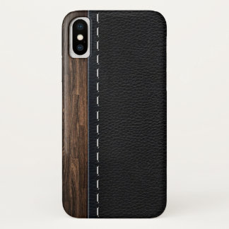Realistic Wood and Stitched Leather Texture iPhone X Case