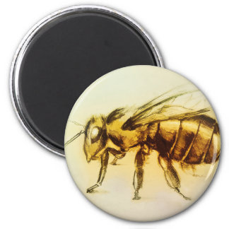 Realistic Yellow Hornet art, Round Magnet - Bee