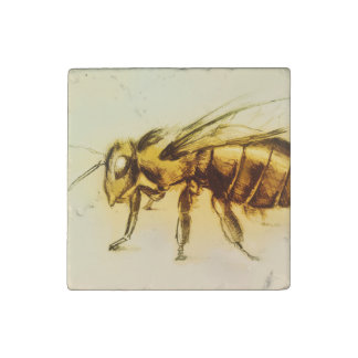 Realistic Yellow Hornet, Marble Stone Magnet - Bee
