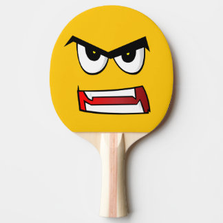 Really Angry Yellow Emoji Ping Pong Paddle