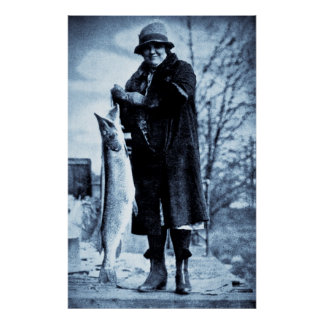 Really Big Fish Vintage Flapper Fishing Trout Poster