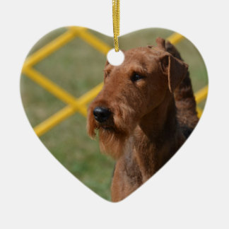 Really Cute Airedale Terrier Ceramic Heart Ornament