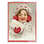 Really Cute Vintage Merry Christmas Girl Greeting Cards