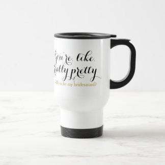 Really pretty will you be my bridesmaid invitation travel mug