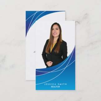 Realtor blue swoosh business card