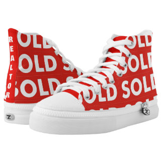 Realtors Red and White Sold Sign High Tops Shoes