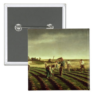 Reaping Sainfoin in Chambaudouin, 1882 2 Inch Square Button