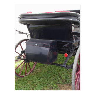 Rear view of old-fashioned horse carriage on green postcard