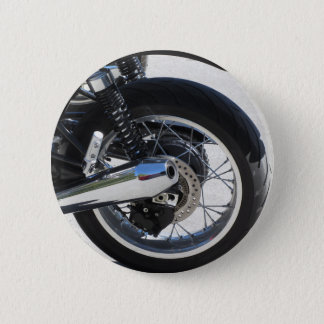 Rear wheel and chromed exhaust pipe of motorcycle 2 inch round button
