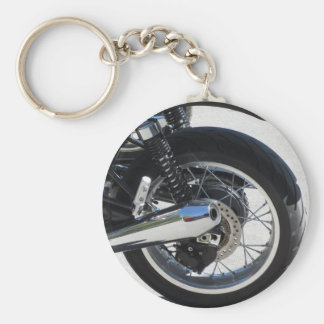Rear wheel and chromed exhaust pipe of motorcycle basic round button keychain
