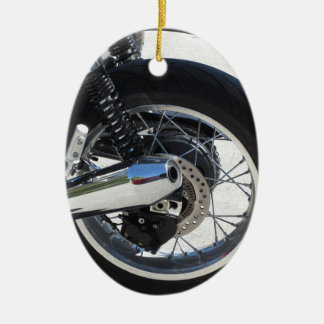Rear wheel and chromed exhaust pipe of motorcycle ceramic ornament