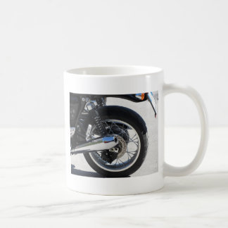 Rear wheel and chromed exhaust pipe of motorcycle coffee mug