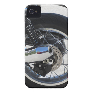 Rear wheel and chromed exhaust pipe of motorcycle iPhone 4 cover