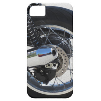 Rear wheel and chromed exhaust pipe of motorcycle iPhone 5 cases