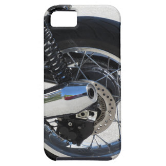 Rear wheel and chromed exhaust pipe of motorcycle iPhone 5 cover