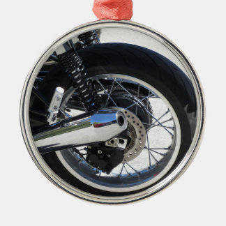 Rear wheel and chromed exhaust pipe of motorcycle metal ornament