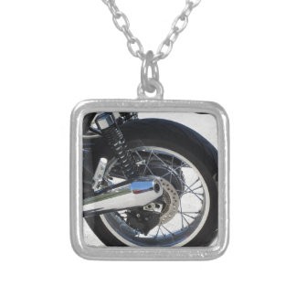 Rear wheel and chromed exhaust pipe of motorcycle silver plated necklace