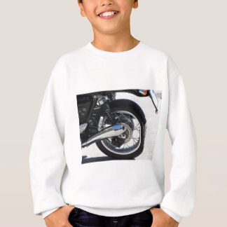 Rear wheel and chromed exhaust pipe of motorcycle sweatshirt