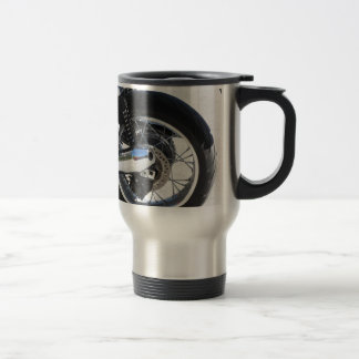 Rear wheel and chromed exhaust pipe of motorcycle travel mug