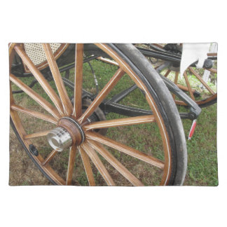 Rear wheels of old-fashioned horse carriage placemat