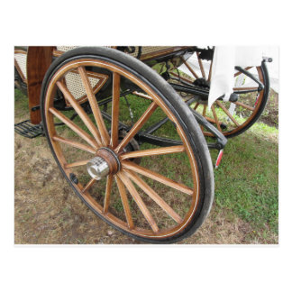 Rear wheels of old-fashioned horse carriage postcard