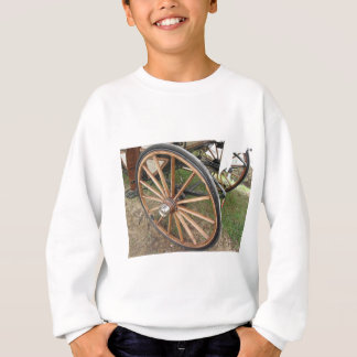 Rear wheels of old-fashioned horse carriage sweatshirt