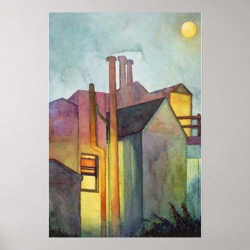 Rear Window Night Scene Building Poster