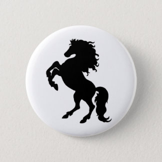 Rearing Black Stallion / Horse 2 Inch Round Button