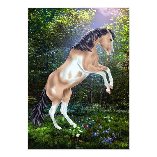 Rearing Buckskin Tobiano Paint Horse Print Card