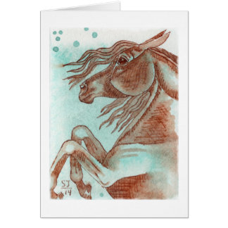 Rearing Chestnut Horse Turquoise Watercolor Wash Card