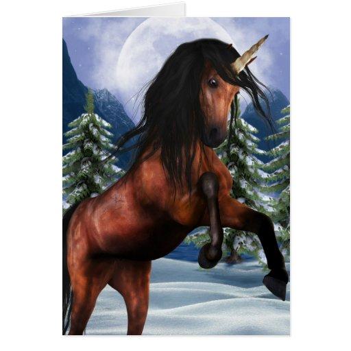 Rearing Chestnut Unicorn Greeting Cards